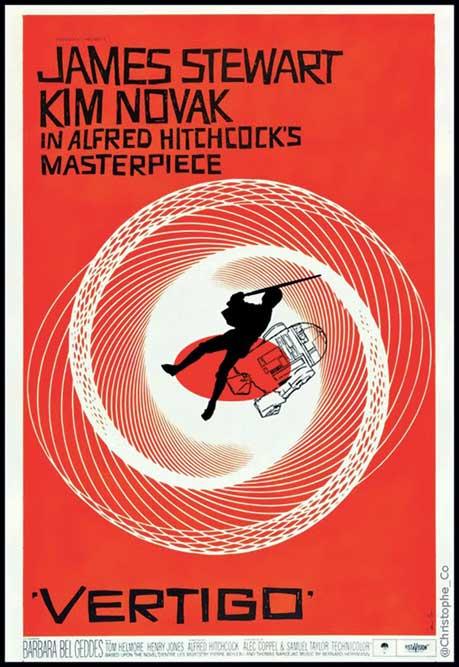 Affiche originale du film Vertigo d'Alfred Hitchcock