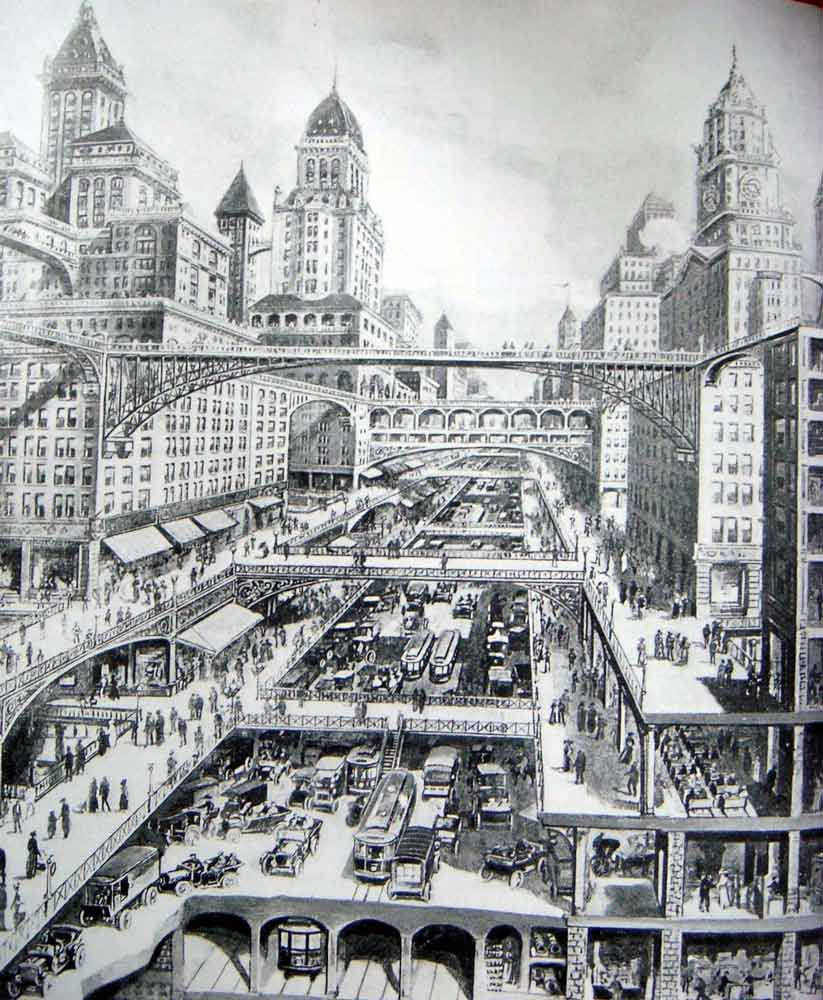 City-of-the-Future-by-Harvey-Wiley-Corbett,-1913