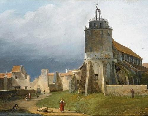 Jacques-Auguste Regnier, Vue de l'église Saint Pierre de Montmartre et du télégraphe optique de Chappe vers 1820. Collection particulière