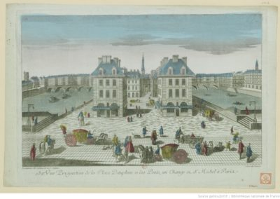 132e Vue perspective de la place Dauphine et des ponts, au Change et St. Michel à Paris - [estampe] @Gallica