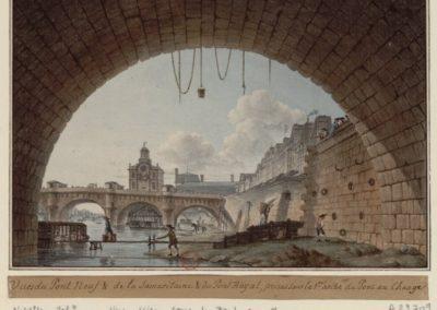 Vues du Pont Neuf & de la Samaritaine & du Pont Royal, prises sous la 1re arche du Pont au Change - [dessin] [Victor-Jean Nicolle] 1779