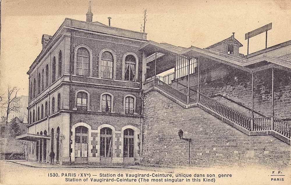 Carte postale de la Station de Vaugirard-Ceinture scannée par Claude Villetaneuse, Domaine public via Wikimedia