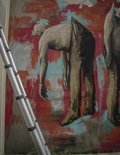 détail de la fresque de Philippe Hérard rue des Couronnes par J Barret