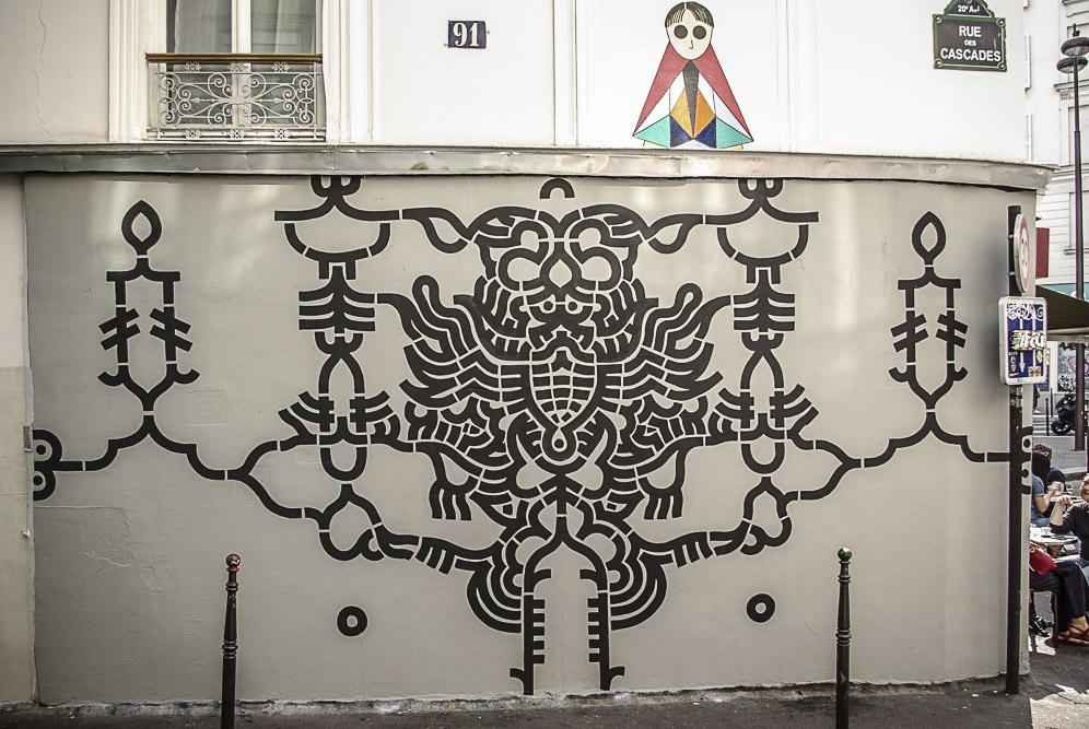 fresque de XXX rue des Cascades par Julien barret