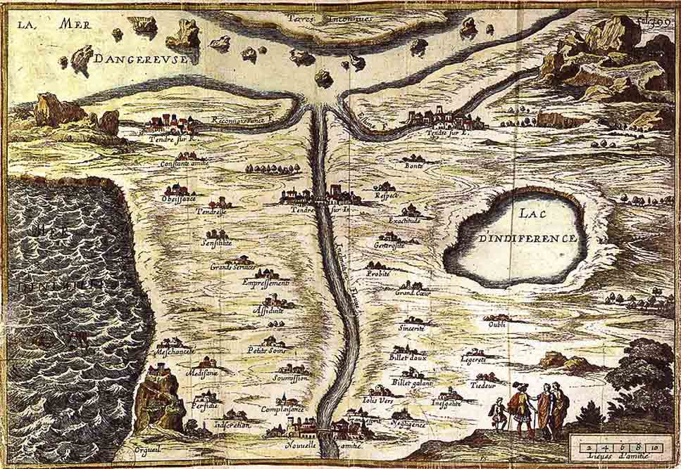Carte du Tendre gravée en 1654 par François Chauveau (domaine public)