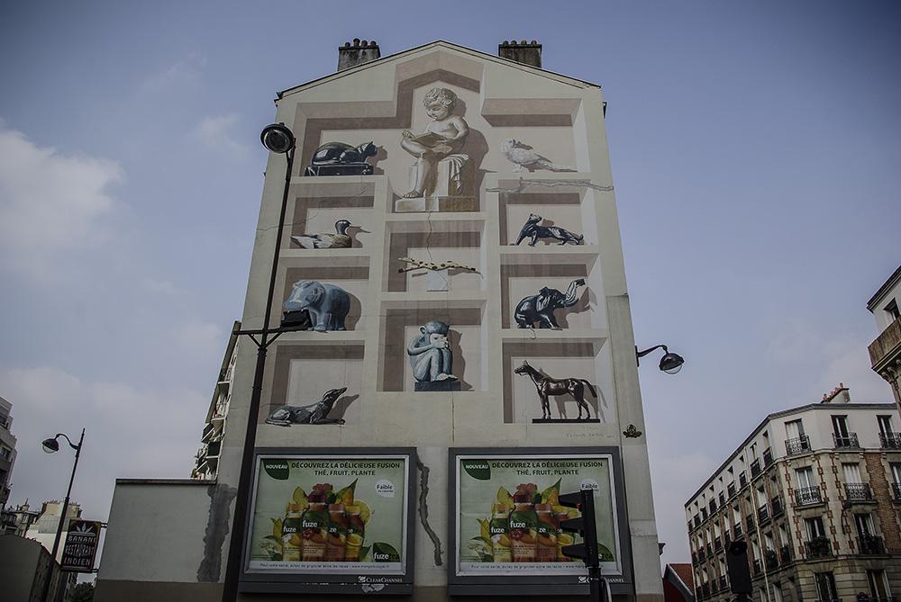 trompe l'œil 148 rue de la Croix Nivert « Le Bestiaire » de Ph. de Lanouvelle et B. de Renty 1996 par J Barret