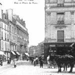 Carte postale d'environ 1900, avec un omnibus à chevaux de la ligne AB (Coll. Parimagine)