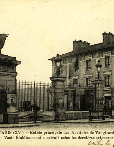 Vue sur l'entrée des abattoirs de Vaugirard vers 1910, coll. de la SHA XVe