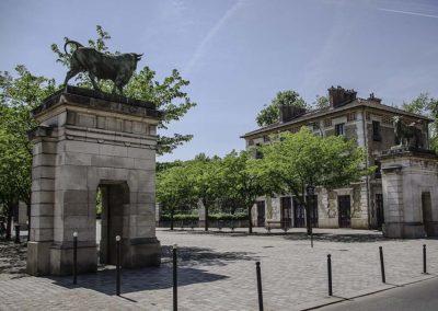 Vue actuelle de l'entrée principale du parc Georges Brassens, par J. Barret