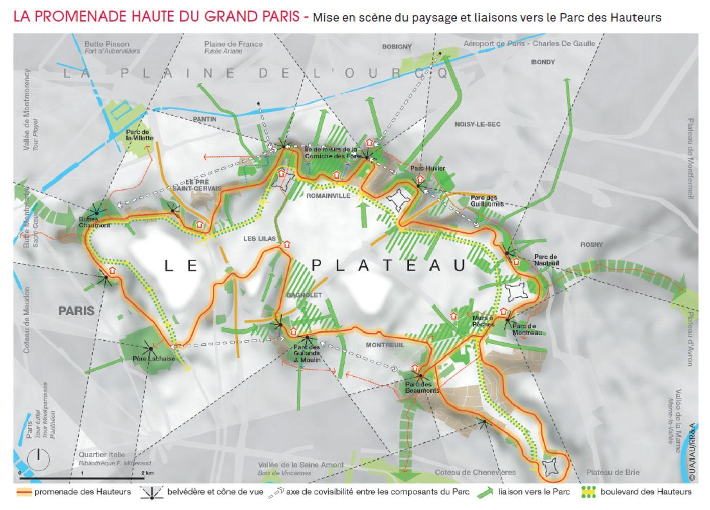 Carte du Parc des Hauteurs réalisée par l'IAU IDF