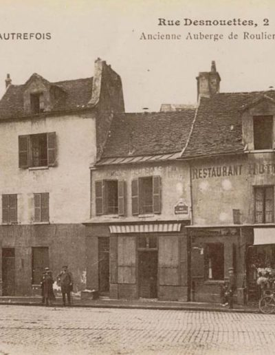 Carte postale des années 1900 montrant la rue Desnouettes et son hôtel-restaurant Saint-Lambert @Parimagine