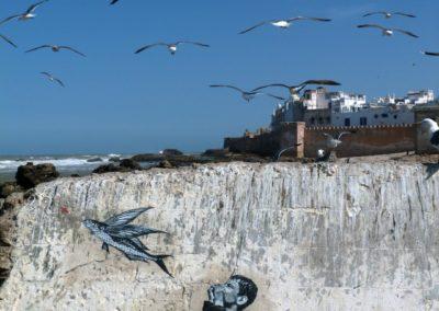 Marc et les poissons volants, Maroc, Essaouira, 2014 @JefAérosol