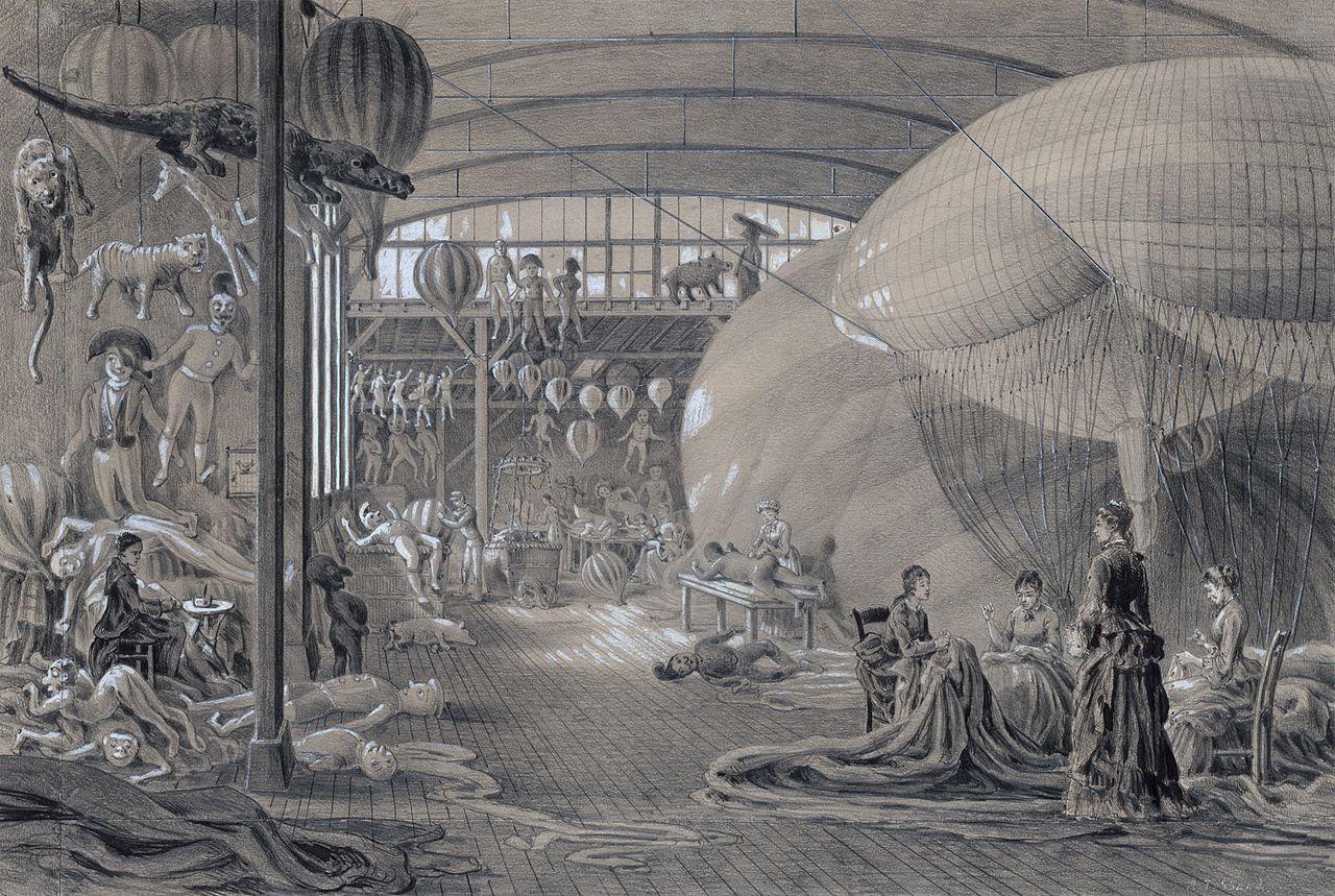 Atelier de M. Lachambre, fabricant de ballons de baudruche, aérostats, etc. 24 passage des Favorites, Paris, Vaugirard. Août 1883. Dessin d'Albert Tissandier. wikimedia Commons