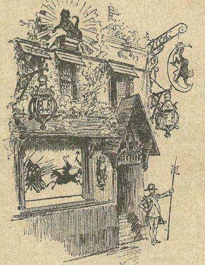Vue du cabaret montmartrois du Chat Noir par Robida @Wikimedia Commons
