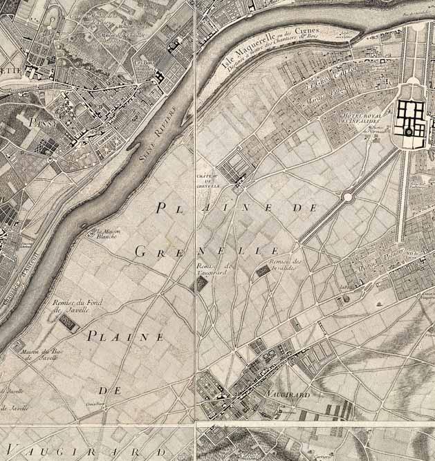Détail du Plan de Roussel, Paris ses fauxbourgs et ses environs, 1730-1739, Wikimedia commons