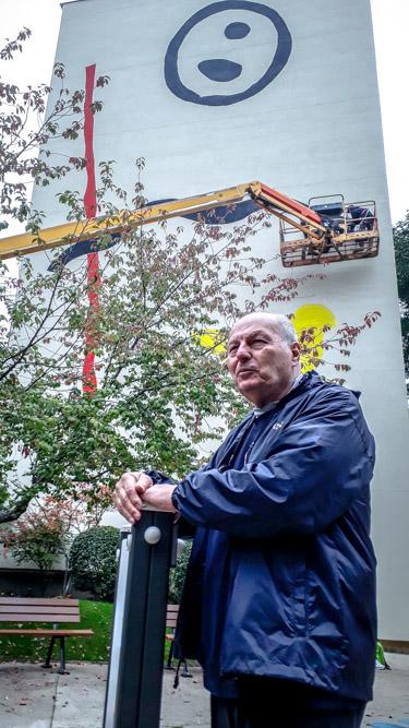 Zloty à Paris devant sa fresque de la rue du dessous des Berges, le 22 octobre 2019 @JBarret