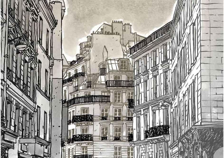 Dessin de Damien Chavanat pour l'illustration de Paris aux cent visages de Jean-Louis Bory