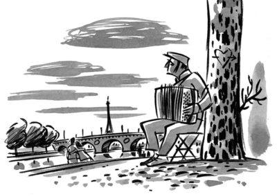 Dessin de Damien Chavanat pour l'illustration de Paris aux cent visages de Jean-Louis Bory-3