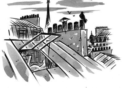 Dessin de Damien Chavanat pour l'illustration de Paris aux cent visages de Jean-Louis Bory-5