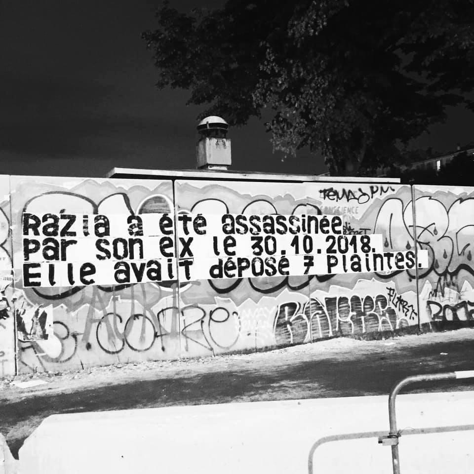 Collage en hommage à Razia posé par Marguerite Stern, DR