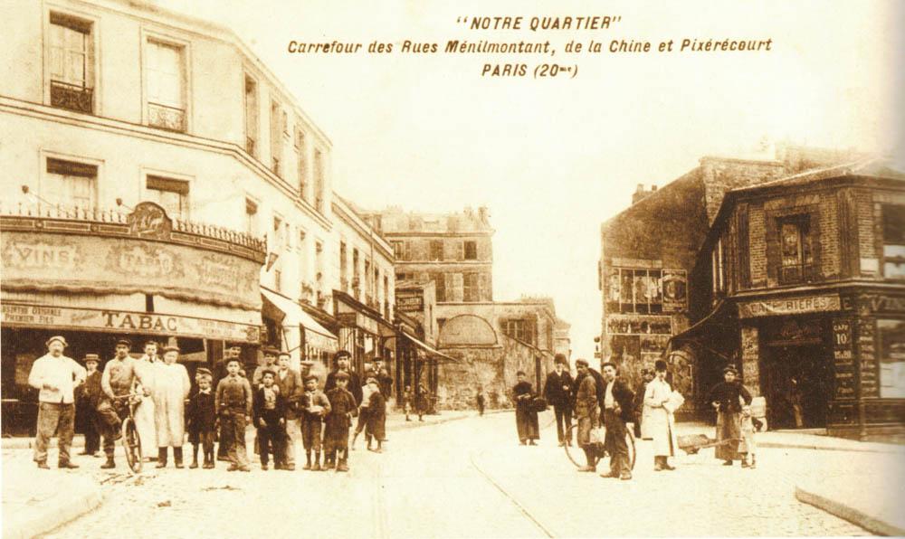 Carrefour des rues de Ménilmontant, de la Chine et Pixérécourt vers 1915 @Parimagine -coll. Franceschini