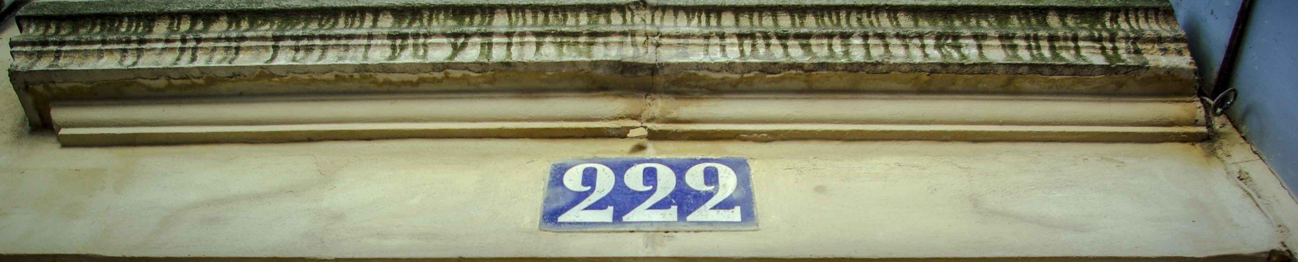 La plaque du 222 rue des Pyrénées @J.Barret
