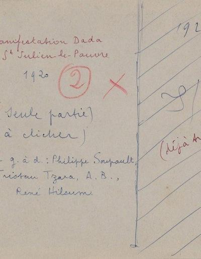Mention manuscrite au dos du tract DADA, Paris, 1921, bibliothèque littéraire Jacques-Doucet, en vente à la Galerie Emmanuel Hutin