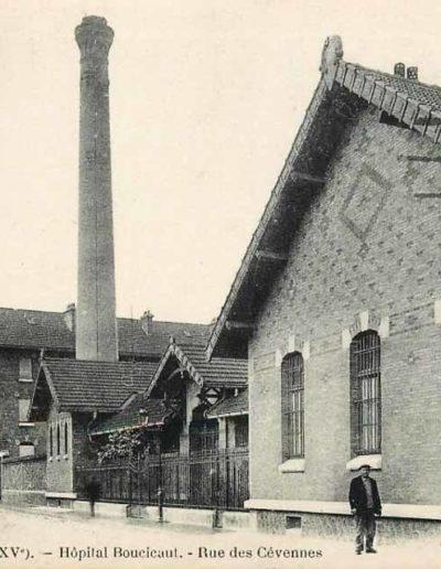 L'hôpital Boucicaut, à gauche, depuis la rue des Cévennes vers 1910 @SHA15