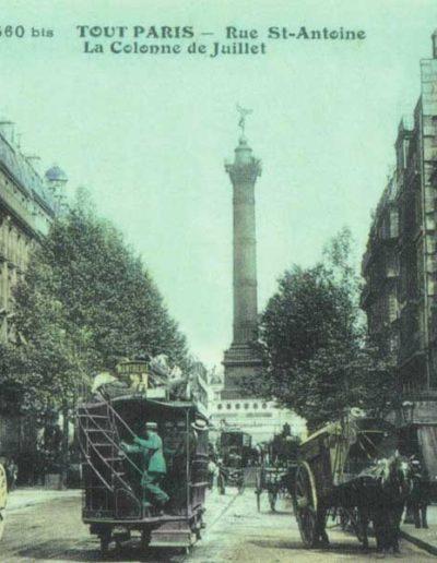 La colonne de la Bastille vue depuis la rue Saint-Antoine vers 1910 @Parimagine