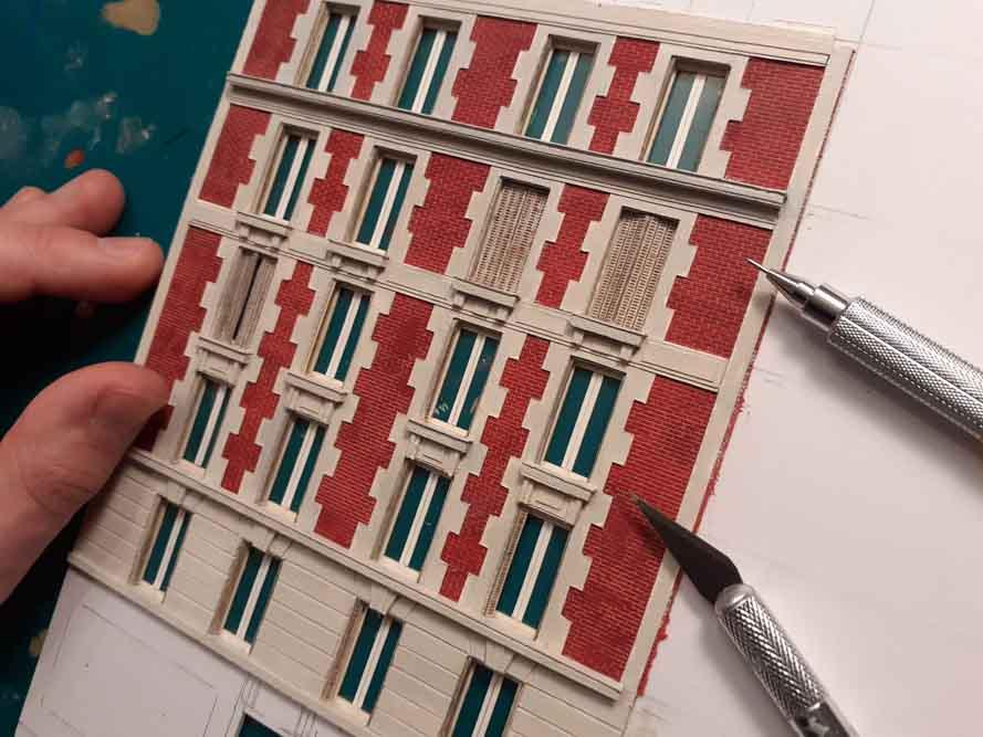 Maquette de Nicolas Pierre représentant une façade en briques rouges @Nicolas Pierre
