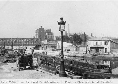 Le pont du chemin de fer de ceinture sur le Canal de l'Ourcq @ Domaine public