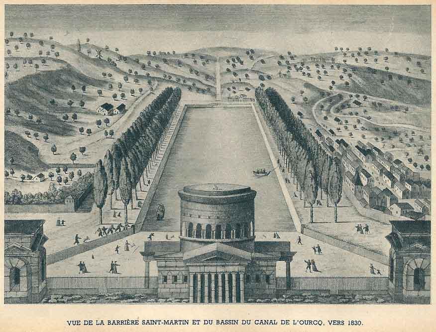 Vue de la barrière St Martin et du canal de l'Ourcq, eau forte anonyme @Paris Musées