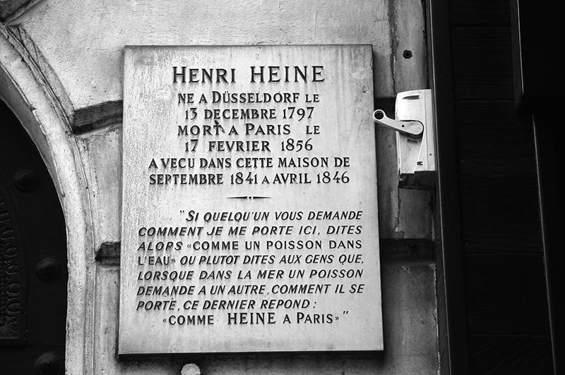 Plaque en mémoire de Heine par Éric Hazan @La Fabrique